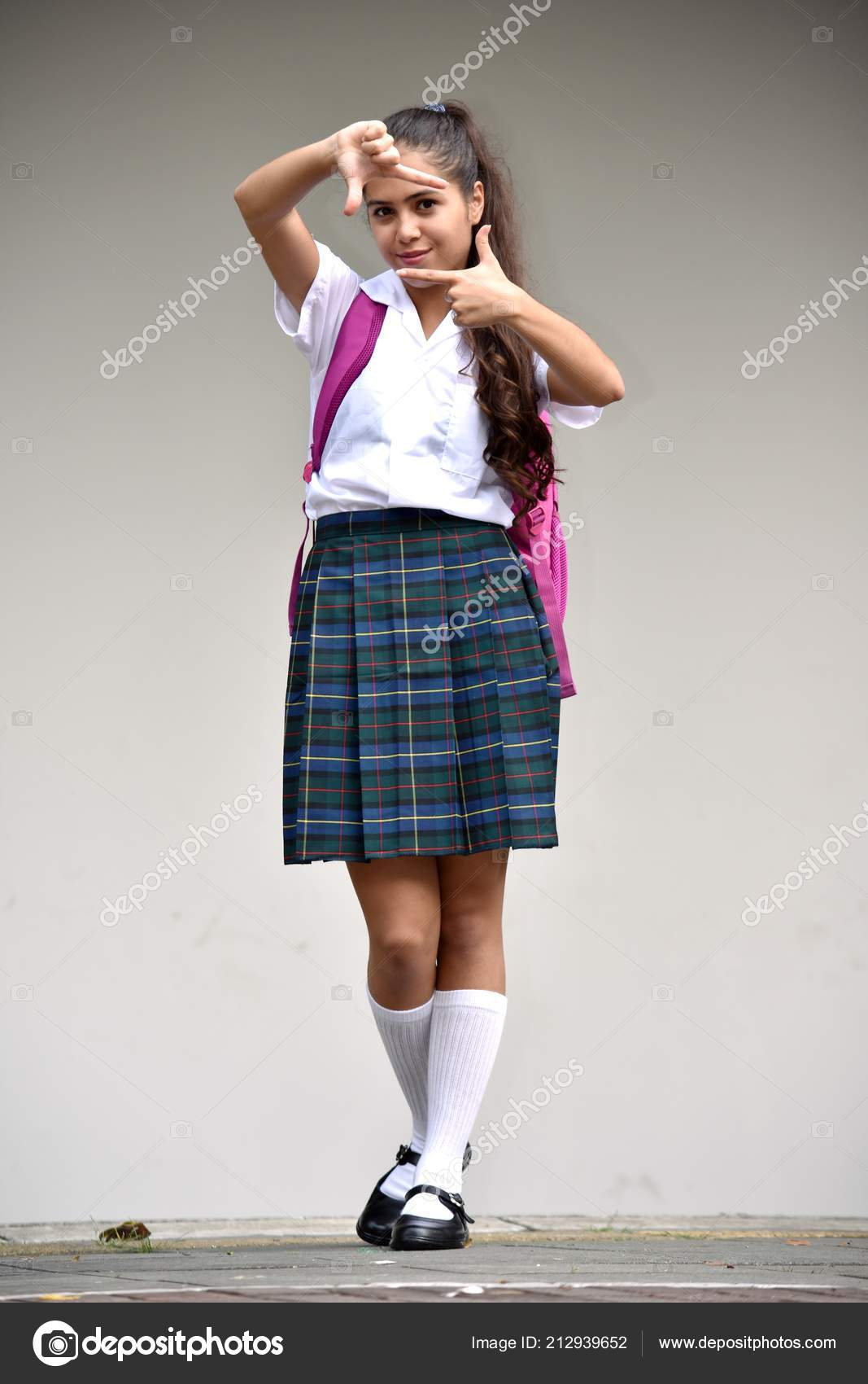 4ec5a836a67 Catholic Student Teenager School Girl Posing Wearing School Uniform– stock  image