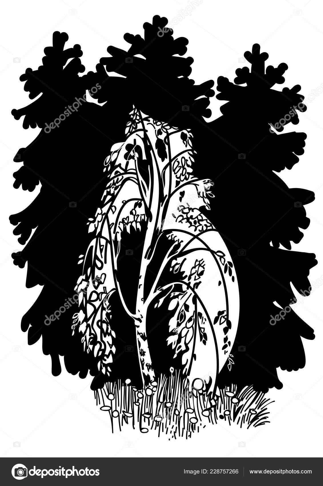 Kresba Brizy Pozadi Vanocnich Stromku Stock Vektor