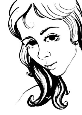 A sketch of a portrait of an imaginary charming young girl stock vector