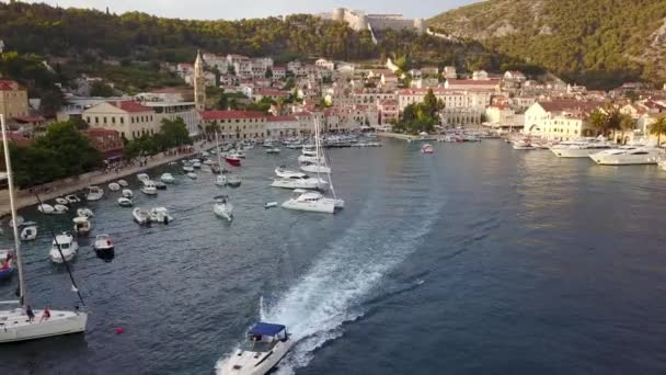 Aerial footage taken with drone. Amazing town of Hvar in Croatia. famous island Hvar.