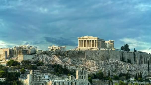 Parthenon Acropolis of Athens, 4k video - zoom out, Greece