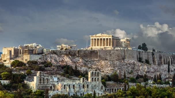 Parthenon akropole Athény, 4k video - oddálit, Řecko