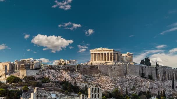 Pathenon, Acropolis of Athens under the blue sky of Greece, Timelapse video