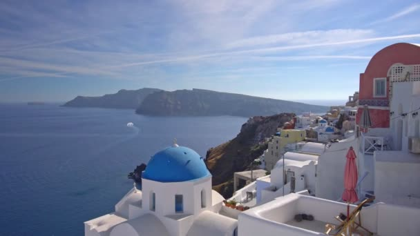 Panoramic View of Santorini Island in Greece, one of the most beautiful travel destinations of the world. Shot in Oia