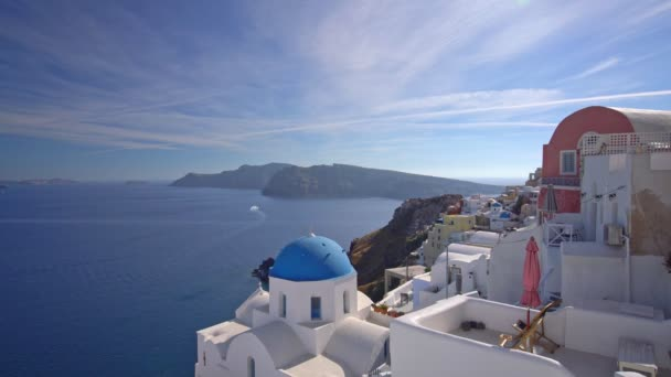 Panoramic View of Santorini Island in Greece, one of the most beautiful travel destinations of the world. Shot in Oia, 4K video
