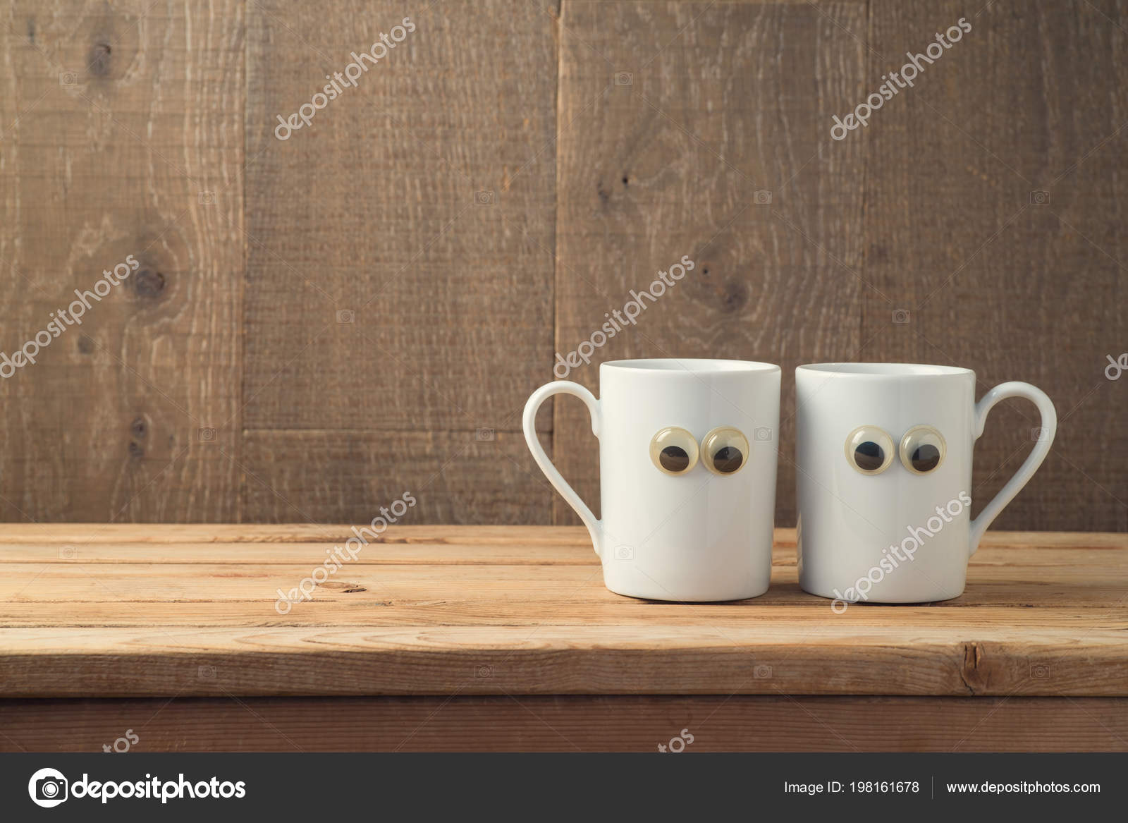 Best Friends Concept Two Coffee Cups Funny Characters Wooden Background Stock Photo C Maglara 198161678