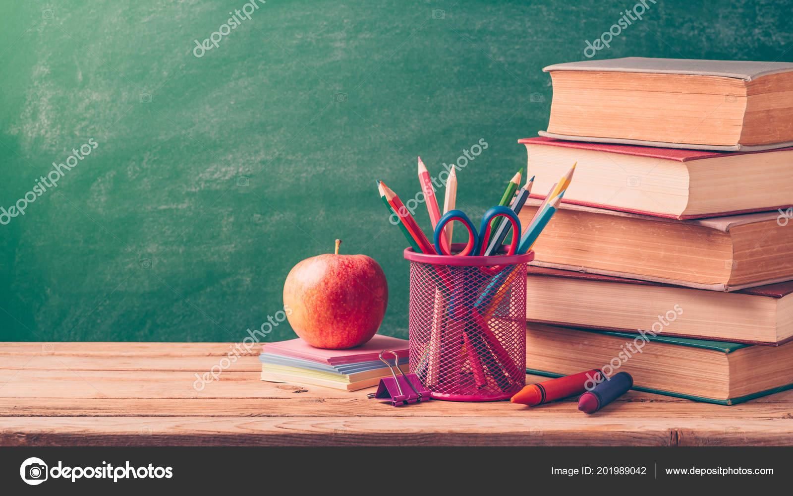 Back School Background Pencils Apple Old Books Chalkboard Stock Photo