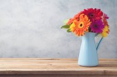 Gerbera daisy flower boquet on wooden table background