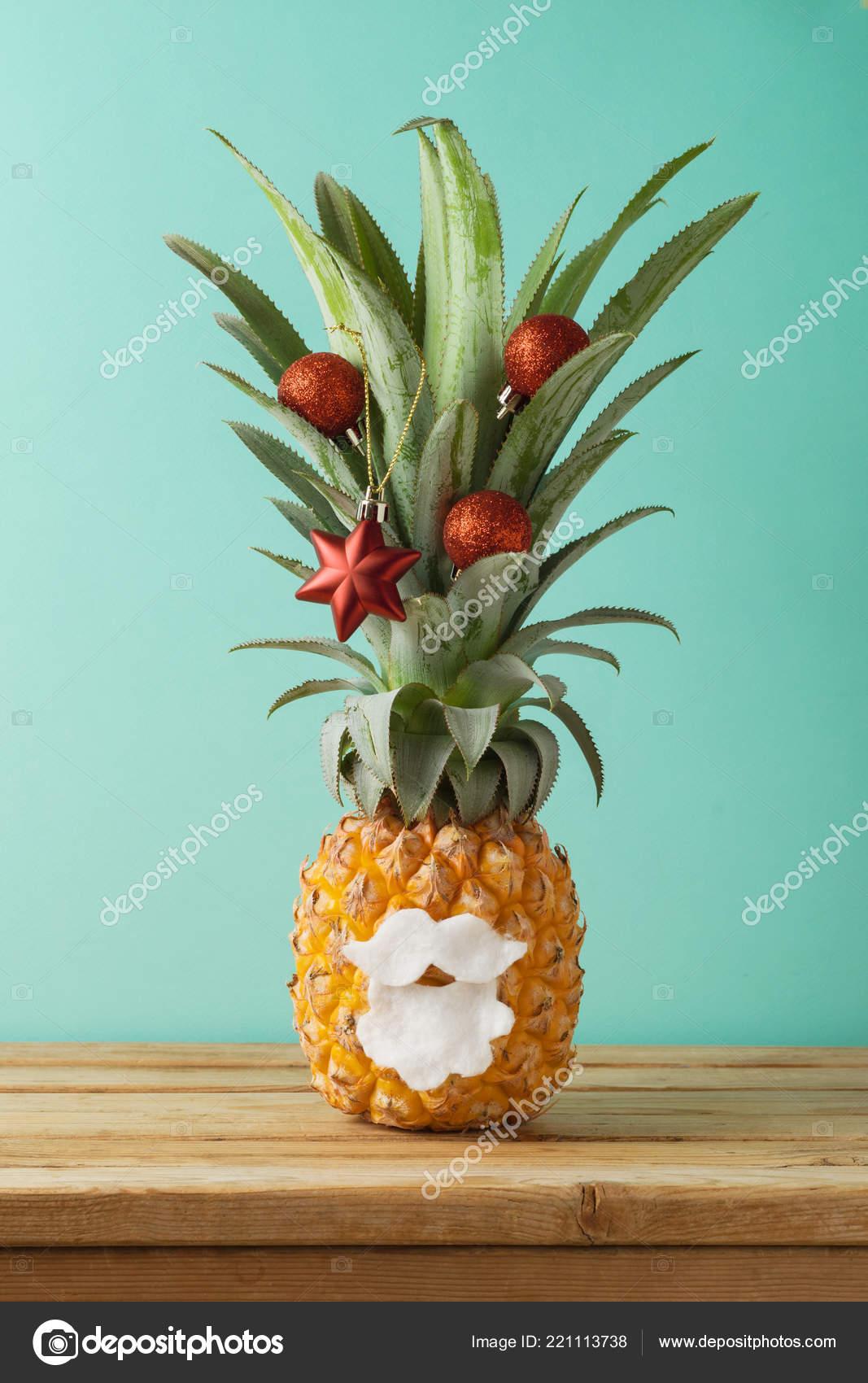 Christmas Pineapple.Christmas Holiday Concept Pineapple Alternative Christmas