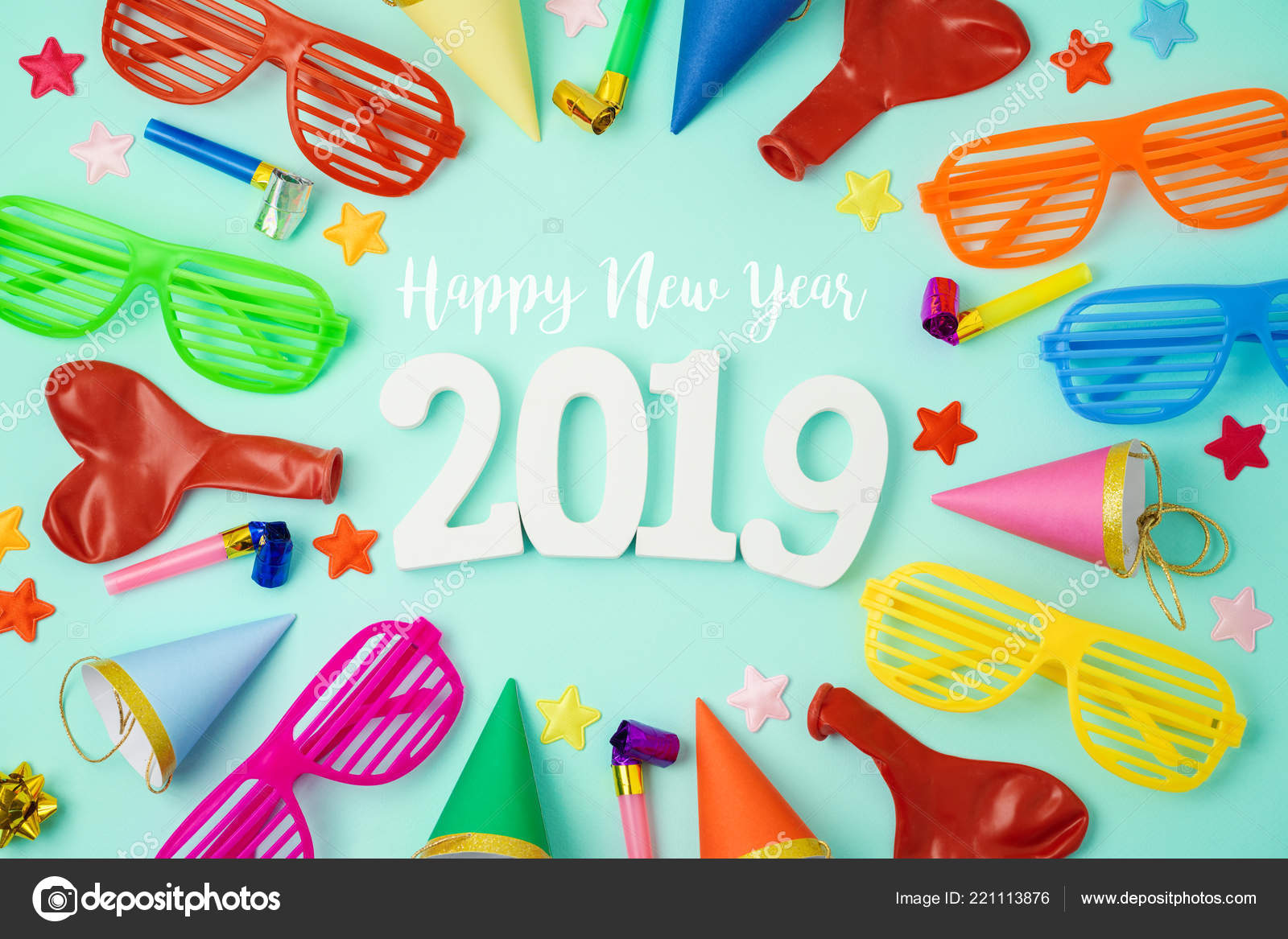New Year 2019 Party Celebration Background Colorful Balloons Party