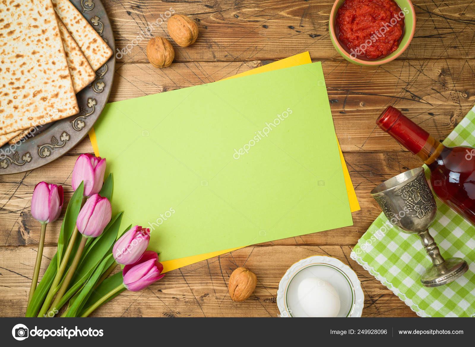 Jewish Holiday Passover Background With Matzo Seder Plate Wine Stock Photo Maglara 249928096