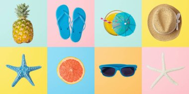 Summer creative background with summer objects. Top view from above stock vector