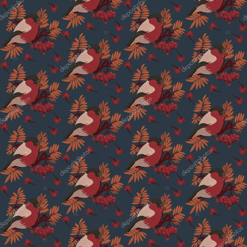 Seamless pattern with bullfinch on a branch of Rowan. Seasonal natural pattern with Rowan berries. Digital illustration