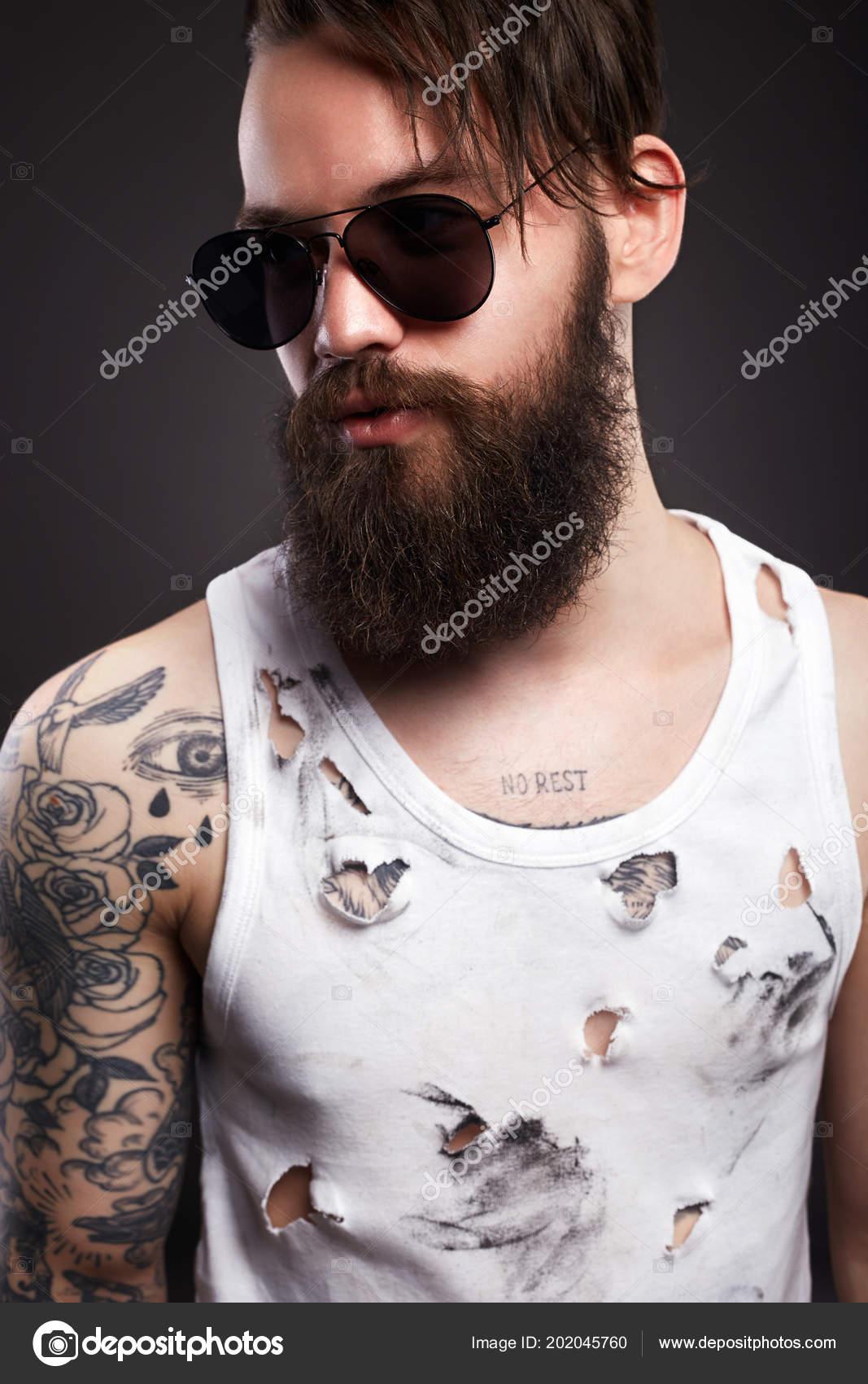 Hipster Guapo Gafas Hombre Sucia Brutal Barba Foto Camisa — Sol Rota trxsQChd