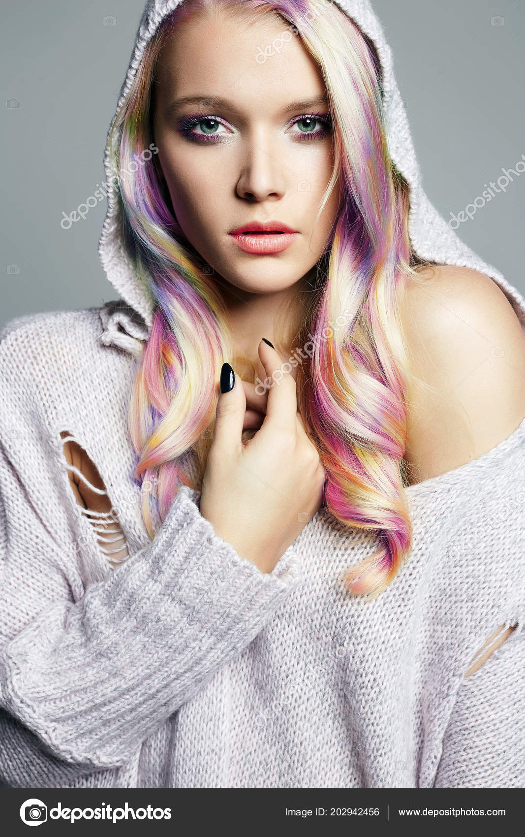 Colorful Hair Beautiful Girl Hood Beauty Fashion Model Colorful Dyed