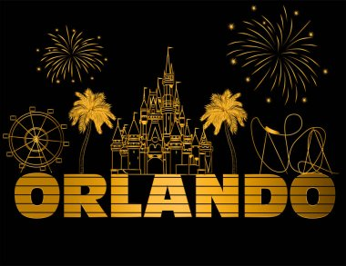 Orlando gold lettering on black backround . Vector with travel icons and fireworks. Travel Postcard