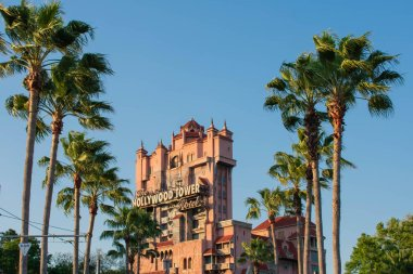 Orlando, Florida, March 27, 2019.The Twilight zone Tower of Terror and palm trees in Hollywood Studios at Walt Disney World