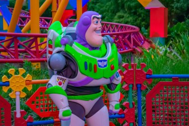 Orlando, Florida. March 29, 2019.Buzz Lightyear on colorful background in Hollywood Studios at Walt Disney World area (1)