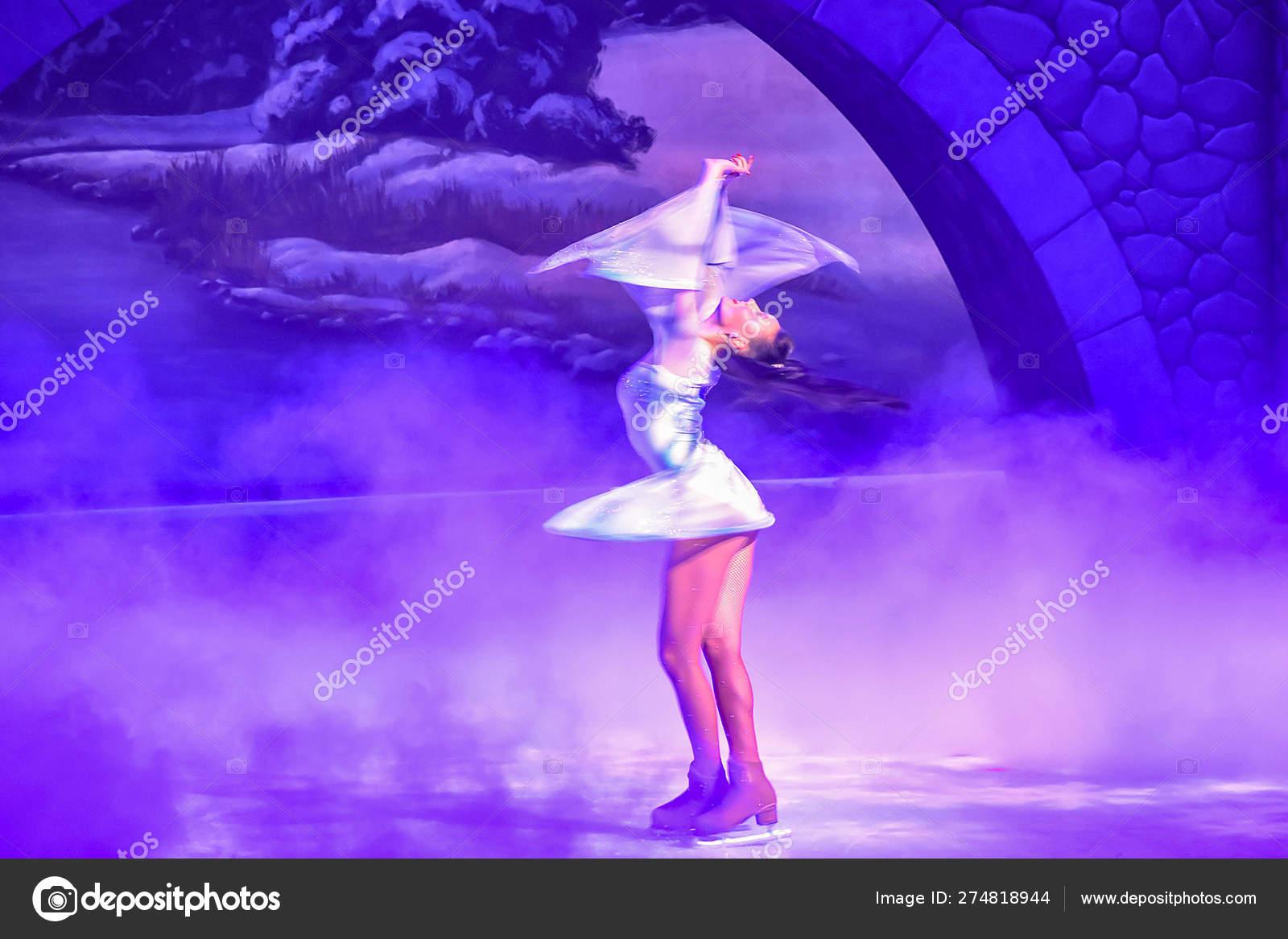Christmas On Ice.Tampa Bay Florida January 2019 Woman Skating Christmas Ice