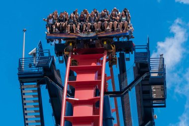 Tampa Bay , Florida. April 30 2019. Excited faces of people enyoing a Sheikra rollercoaster ride at Busch Gardens Theme Park (11)