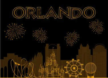 Orlando, Florida. Orlando gold lettering on black background. Vector with travel icons and fireworks
