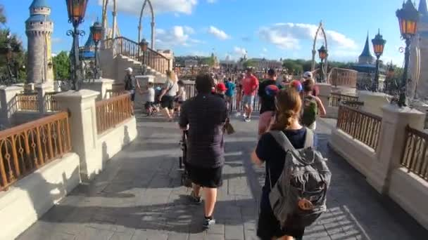 Orlando, Florida. September 29, 2019. Walking towards the terrace of Cinderella Castle with breathtaking view of Main Street at Magic Kigndom.
