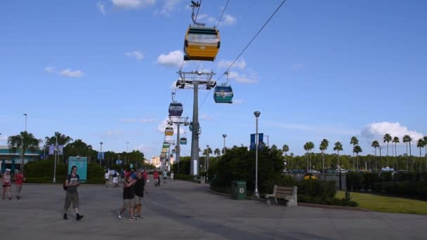 Orlando, Florida. September 27, 2019. People traveling in themed gondola with iconic Disney Characters in Hollywood Studios area (9)