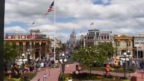 Orlando, Florida. September 29, 2019. Panoramic view of Main Street and Cinderella Castle at Magic Kigndom (3).