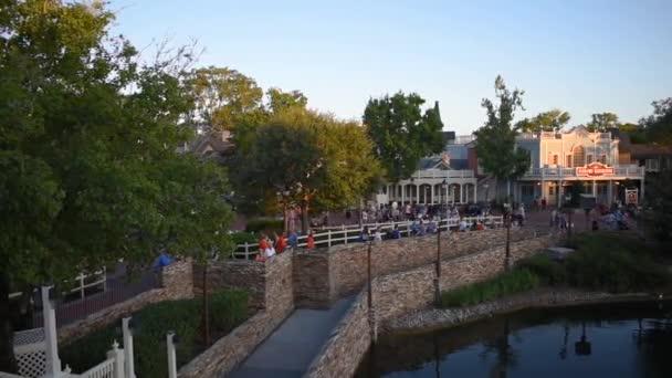Orlando, Florida. September 29, 2019. Panoramic view of Liberty Square from Riverboat at Magic Kingdom (15).