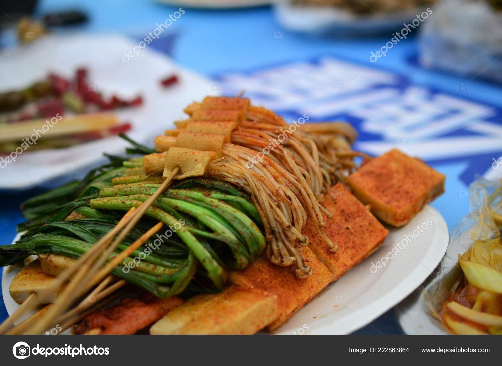 Vegetable skewers, Chinese food, Xinjiang Uyghur delicacies