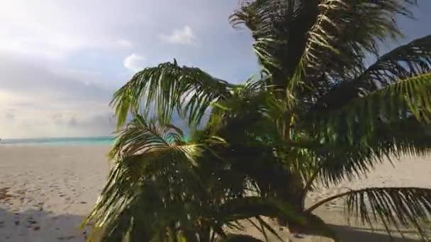 ruhiger Strand mit Liegestühlen und Sonnenschirmen auf den Malediven. Ruhiger Sandstrand mit ein paar Büschen, Liegestühlen und Sonnenschirmen, schöner Blick auf Wasservillen im Hintergrund.