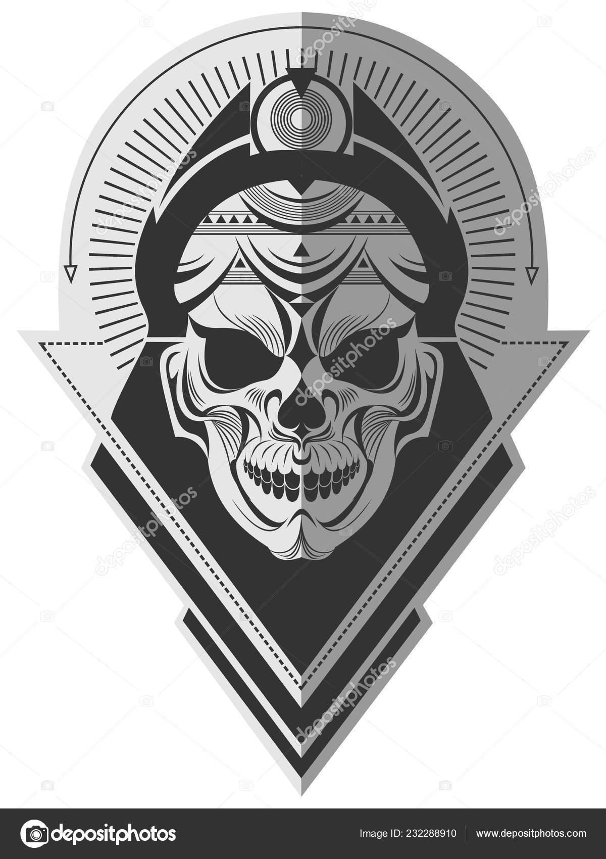 decorative black white alien skull flat paper memorable art sticker