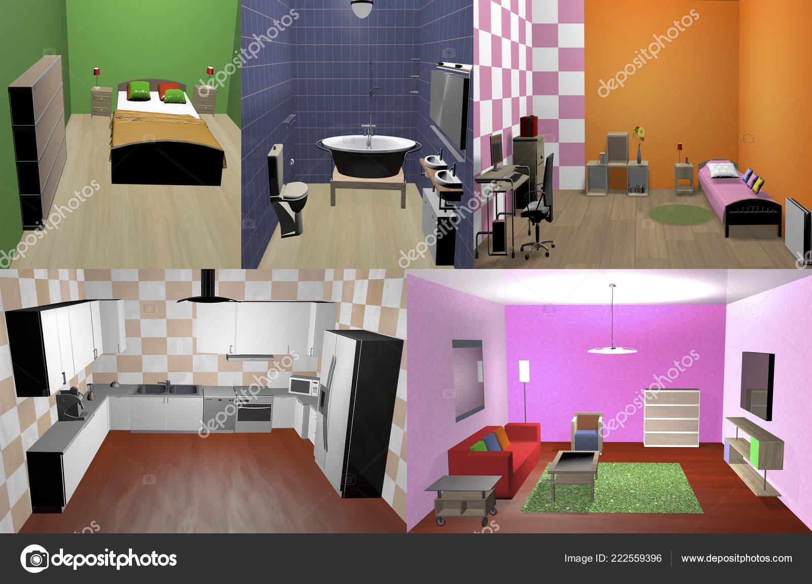 Cucina Salotto E Camera Da Letto.Casa Con Soggiorno Cucina Camera Letto Bagno Arredata Foto