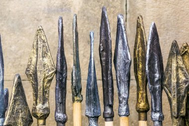 Spearheads in a medieval market in Pamplona, Spain.