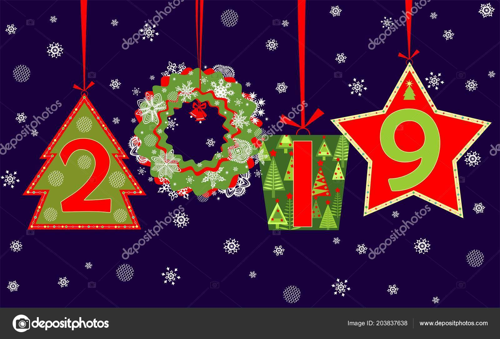 Season Greeting 2019 New Year Hanging Cut Out Numbers Gift Stock
