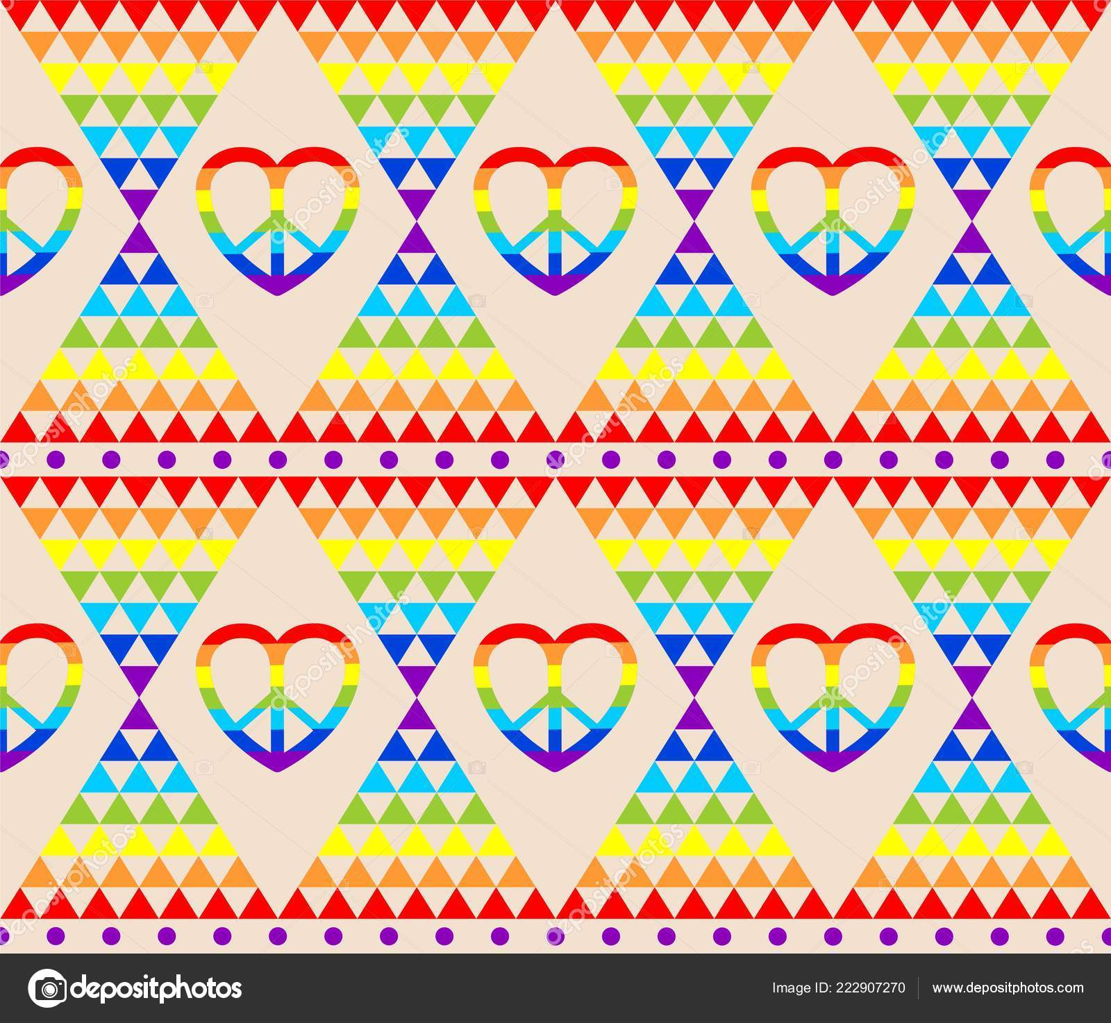 Vintage Hippie Wallpaper Rainbow Hippie Symbol Psychedelic Abstract Triangle Colorful — Stock Vector