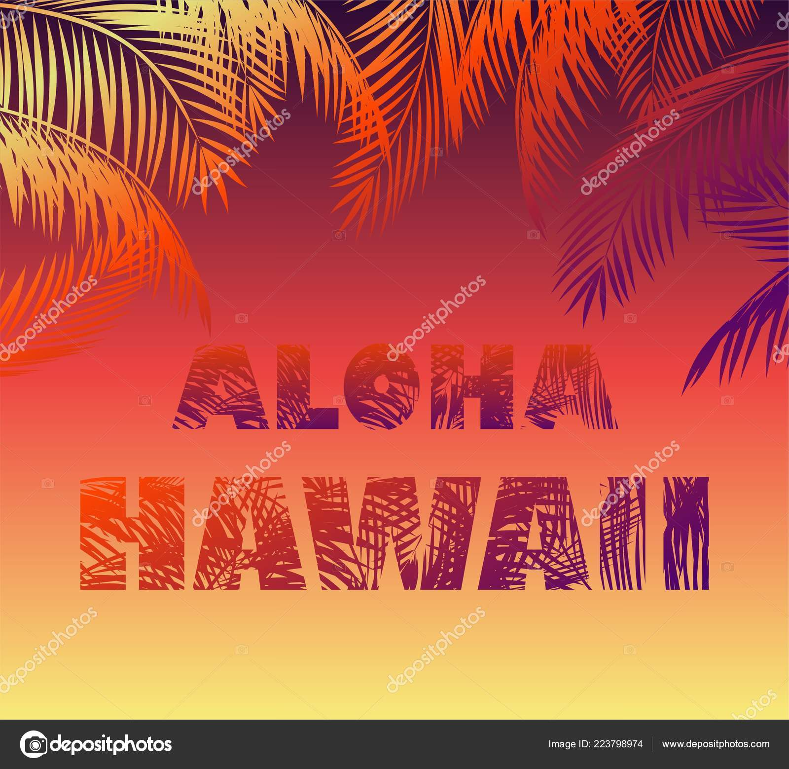 Tropical Neon Background Floral Aloha Hawaii Lettering Palm Leaves Silhouettes Stock Vector
