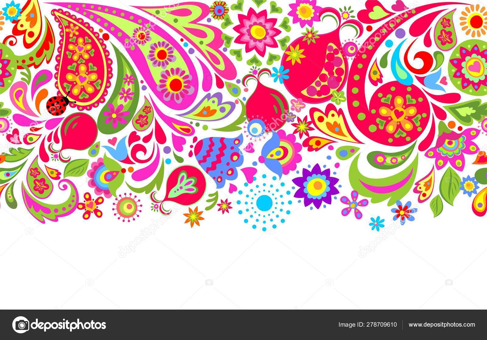 Floral Seamless Ethnic Border Colorful Abstract Flowers
