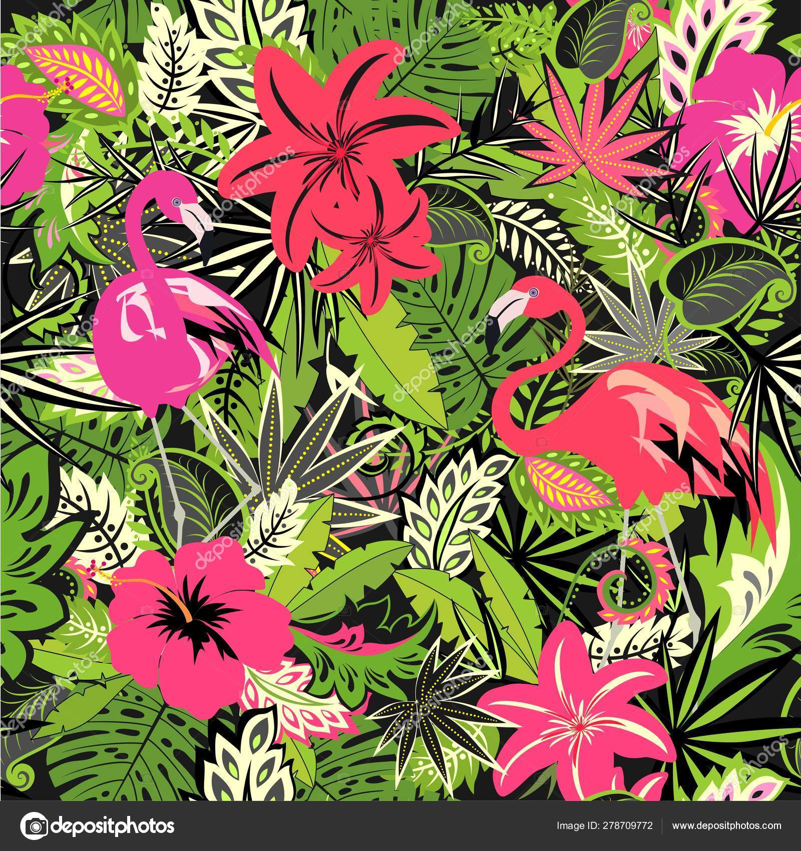 Tropical Wallpaper Exotic Flowers Leaves Pink Flamingo