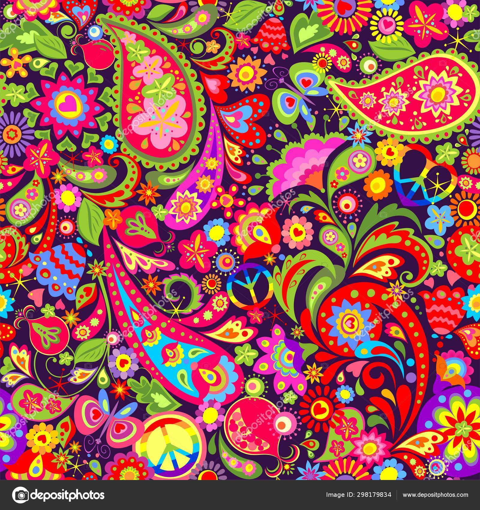 Hippie Vivid Colorful Wallpaper Abstract Flowers Hippie