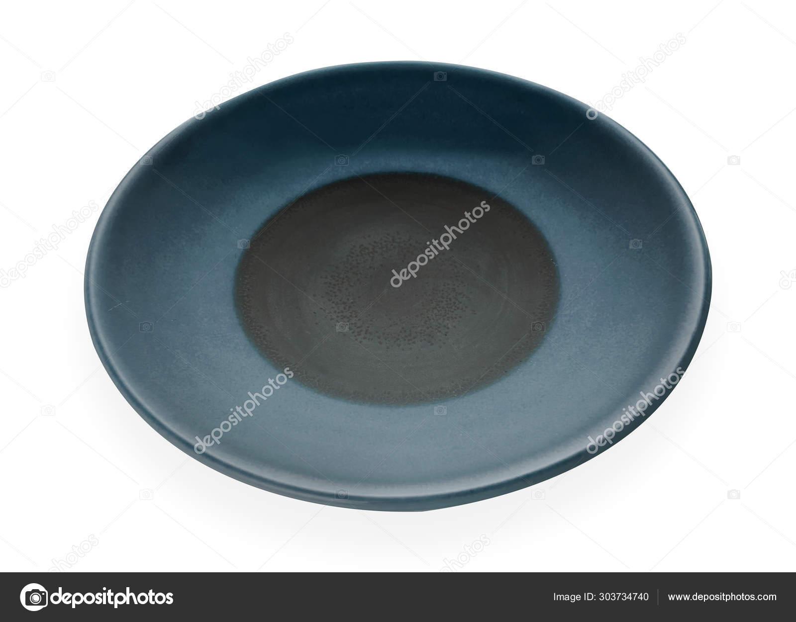 Empty Ceramic Plates Classic Dark Blue Plate Isolated White Background Stock Photo C Dewins 303734740