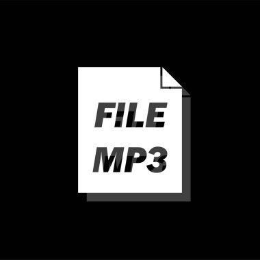 Audio file. White flat simple icon with shadow