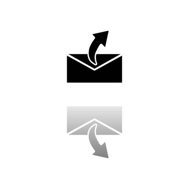 Sending mail. Black symbol on white background. Simple illustration. Flat Vector Icon. Mirror Reflection Shadow. Can be used in logo, web, mobile and UI UX project icon