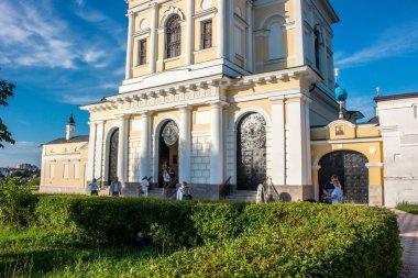 SERPUHOV, RUSSIA - AUGUST 2017: Vysotsky monastery (Vysotskiy monastyr). Orthodox monastery in Serpukhov. The bell tower and the gatehouse of the Three Saints Church