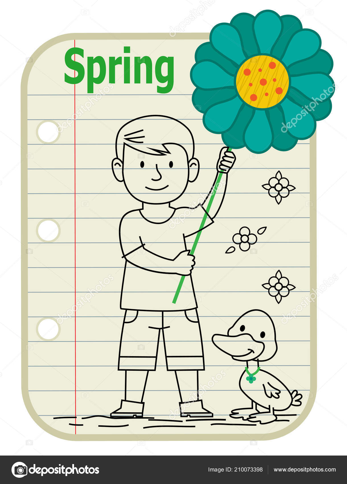 Line Drawing Boy Holding Sign Flower Duck Standing Next Him Stock