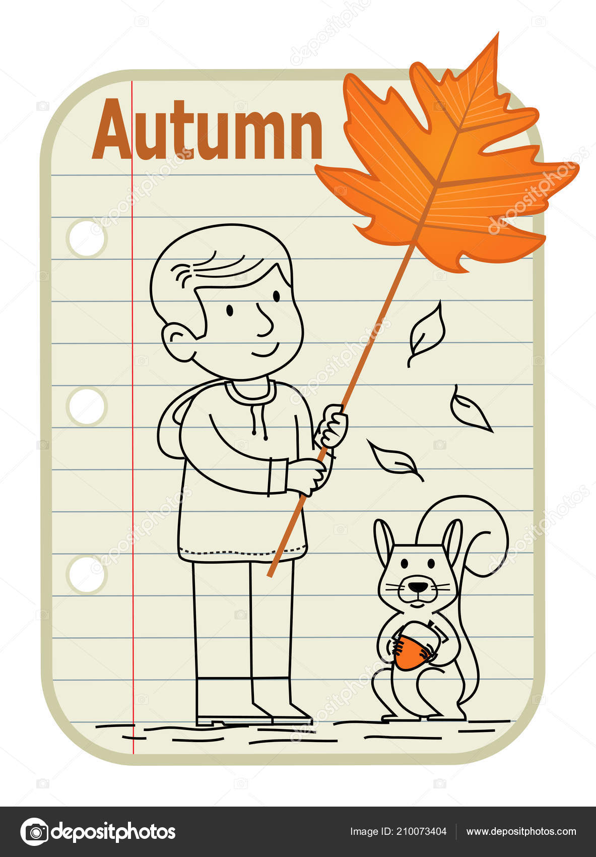 Line Drawing Boy Holding Sign Leaf Squirrel Holding Acorn Sitting