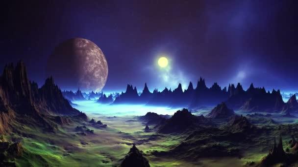 Západ slunce na pozadí mlhoviny. Zářivě bílé slunce zapadá nad mlžným horizontem. Cizí planetě (měsíc) točí v temné hvězdnaté obloze. Modrá mlha leží v údolí mezi temnými skalami.