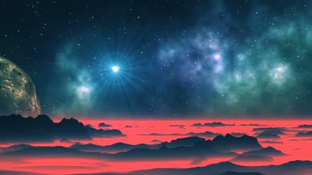 Jasná hvězda, mlhoviny a cizí planety. Temné hory pokryté hustou rudá mlha. V temné hvězdnou oblohu, mlhoviny, jasně zářící hvězda v halo a obrovská planeta (měsíc).