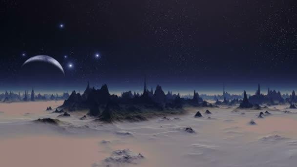 Západu slunce světla cizí planetě. V temné hvězdnaté obloze velké modré planety (měsíc) pomalu osvětluje západ slunce. Temné skály s ostrými vrcholy stojí mezi hustá růžová mlha.