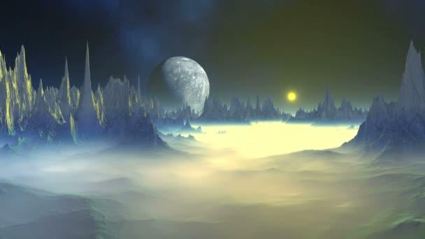 Titokzatos idegen bolygón. A világos sárga nap emelkedik egy sziklás ködös bolygón. A sötét csillagos ég köd és a nagy Hold felett a horizonton. A köd lassan dissipates.